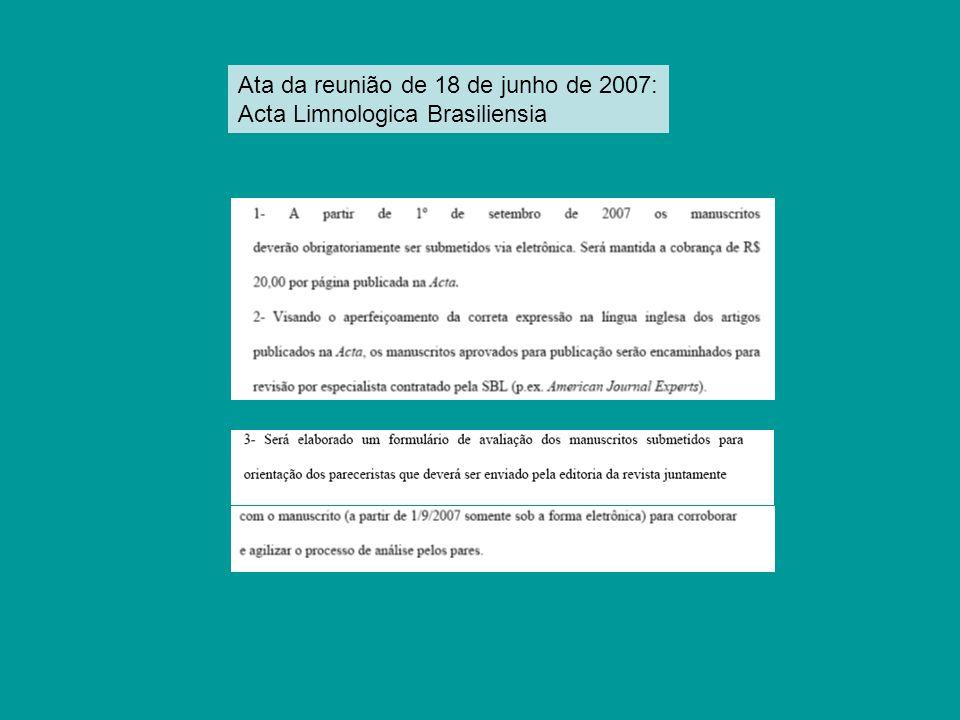 Ata da reunião de 18 de junho de 2007: Acta Limnologica Brasiliensia