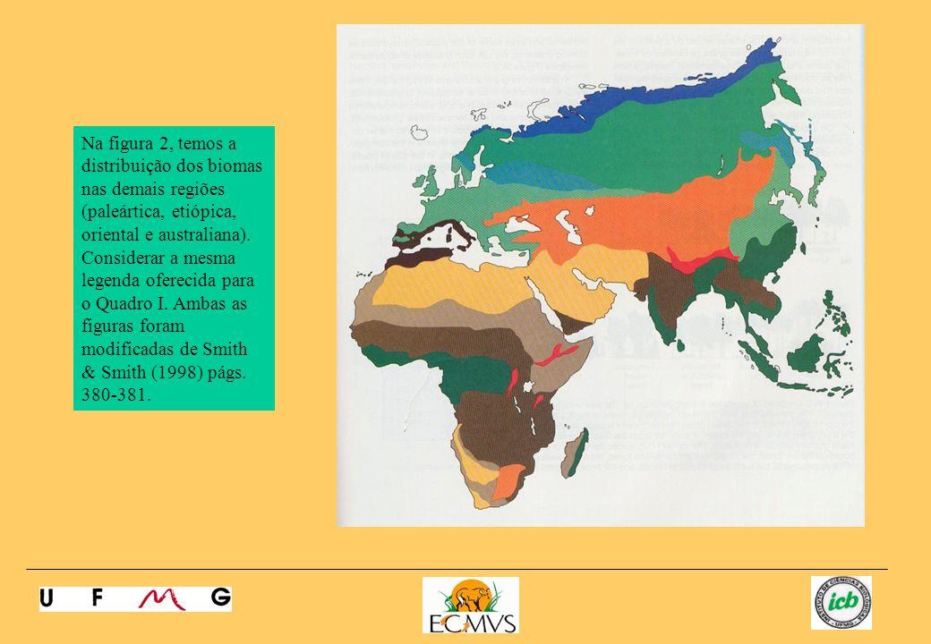Na figura 2, temos a distribuição dos biomas nas demais regiões (paleártica, etiópica, oriental e australiana). Considerar a mesma legenda oferecida p