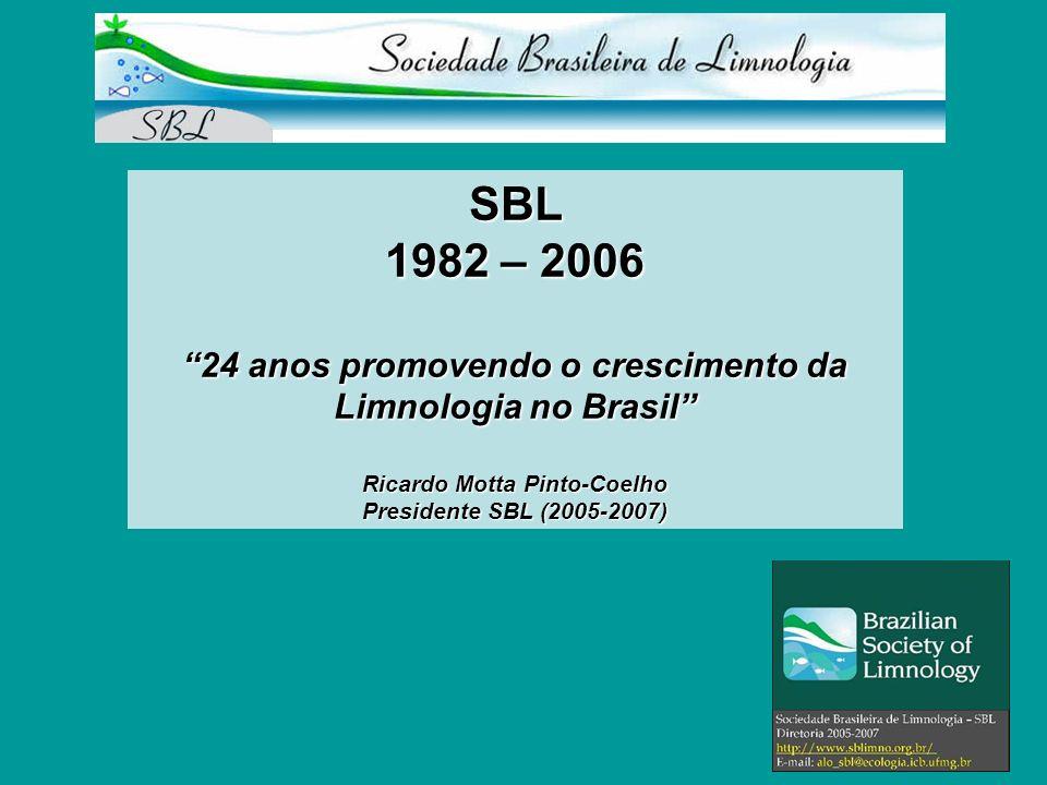 SBL 1982 – 2006 24 anos promovendo o crescimento da Limnologia no Brasil Ricardo Motta Pinto-Coelho Presidente SBL (2005-2007)