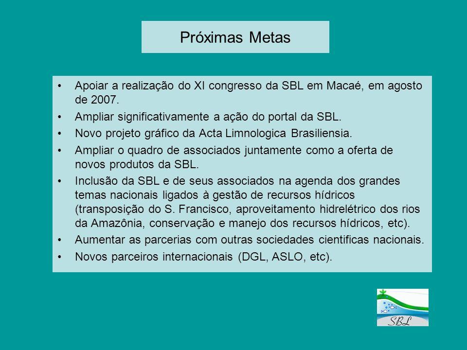 Próximas Metas Apoiar a realização do XI congresso da SBL em Macaé, em agosto de 2007. Ampliar significativamente a ação do portal da SBL. Novo projet