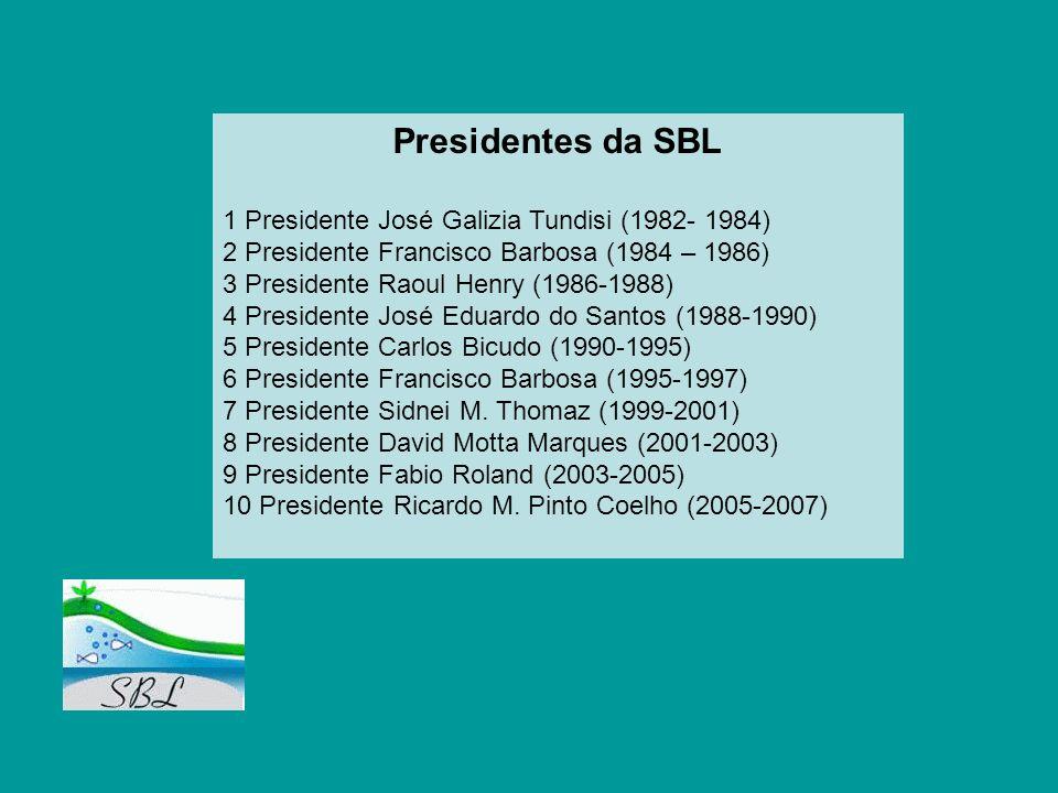 Presidentes da SBL 1 Presidente José Galizia Tundisi (1982- 1984) 2 Presidente Francisco Barbosa (1984 – 1986) 3 Presidente Raoul Henry (1986-1988) 4