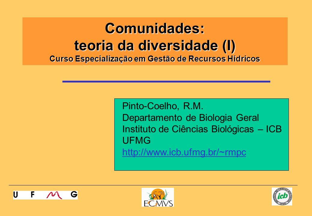 Comunidades: teoria da diversidade (I) Curso Especialização em Gestão de Recursos Hídricos Pinto-Coelho, R.M. Departamento de Biologia Geral Instituto
