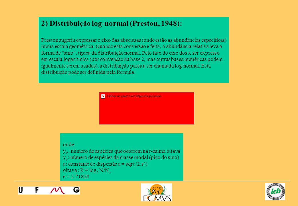 2) Distribuição log-normal (Preston, 1948): Preston sugeriu expressar o eixo das abscissas (onde estão as abundâncias específicas) numa escala geométr