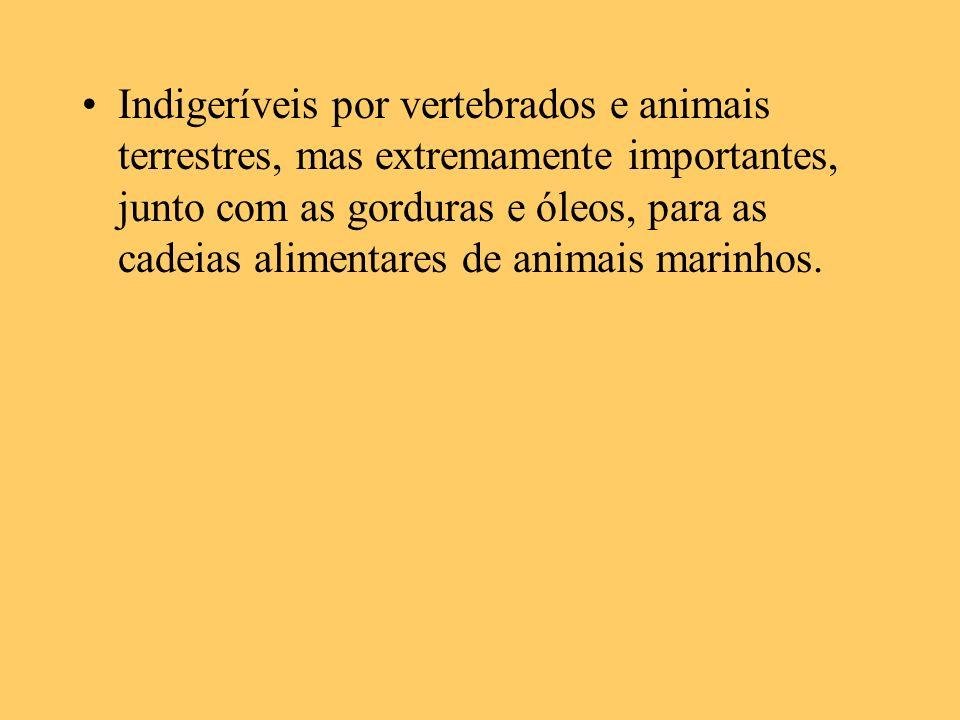 Indigeríveis por vertebrados e animais terrestres, mas extremamente importantes, junto com as gorduras e óleos, para as cadeias alimentares de animais
