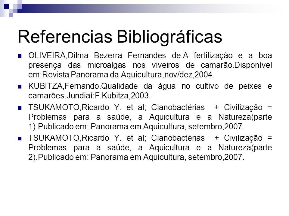 Referencias Bibliográficas OLIVEIRA,Dilma Bezerra Fernandes de.A fertilização e a boa presença das microalgas nos viveiros de camarão.Disponível em:Re