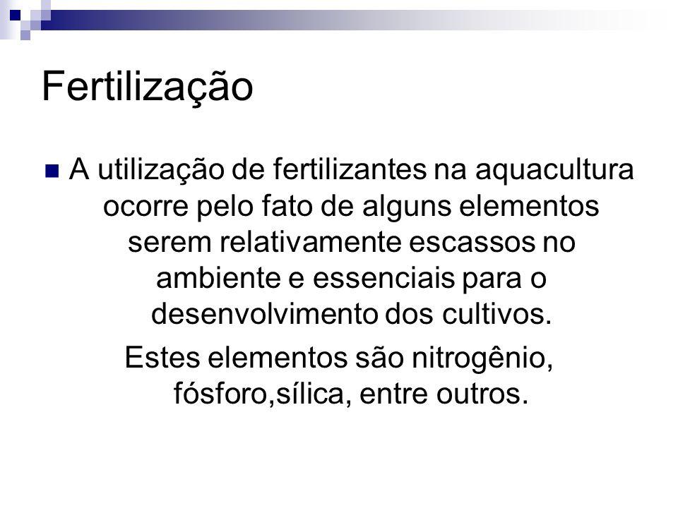 Fertilização A utilização de fertilizantes na aquacultura ocorre pelo fato de alguns elementos serem relativamente escassos no ambiente e essenciais p