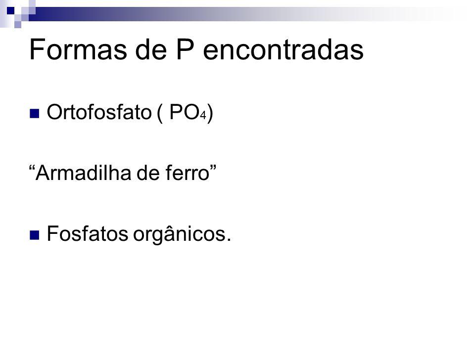 Formas de P encontradas Ortofosfato ( PO 4 ) Armadilha de ferro Fosfatos orgânicos.