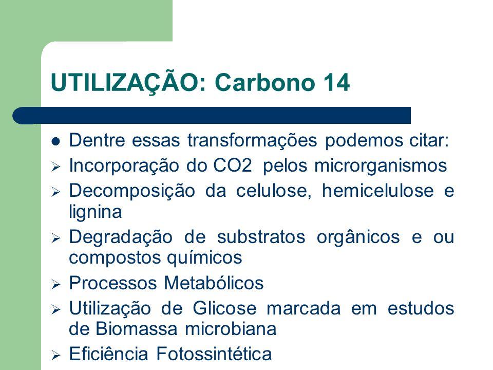 UTILIZAÇÃO: Carbono 14 Dentre essas transformações podemos citar: Incorporação do CO2 pelos microrganismos Decomposição da celulose, hemicelulose e li