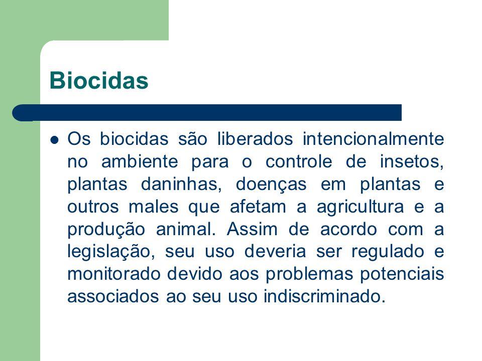 Biocidas Os biocidas são liberados intencionalmente no ambiente para o controle de insetos, plantas daninhas, doenças em plantas e outros males que af