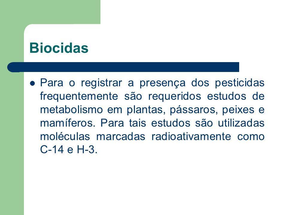 Biocidas Para o registrar a presença dos pesticidas frequentemente são requeridos estudos de metabolismo em plantas, pássaros, peixes e mamíferos. Par