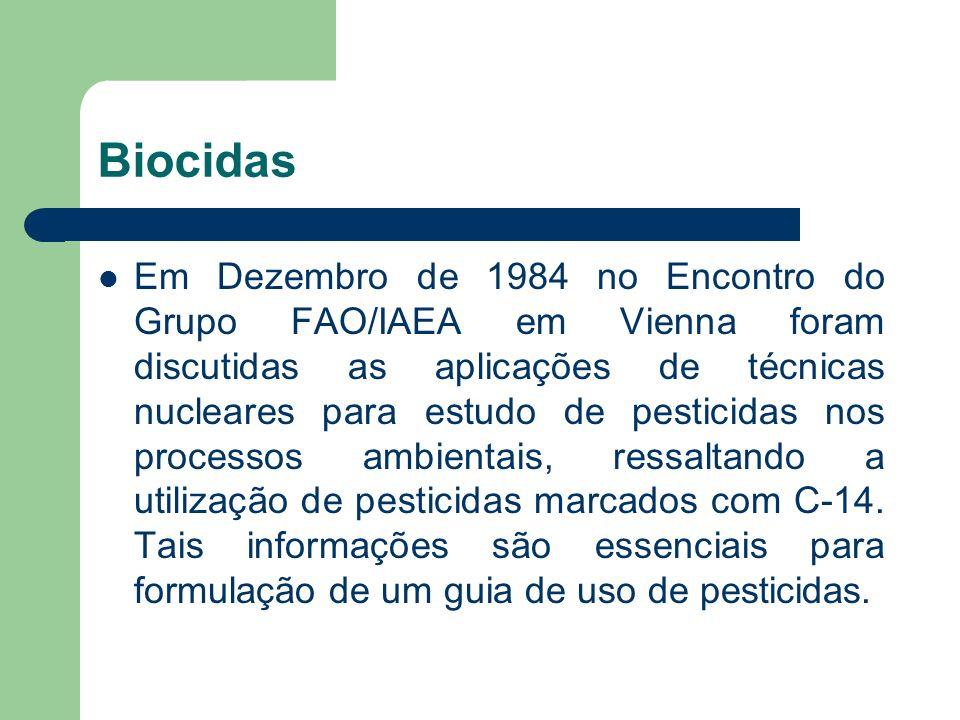 Biocidas Em Dezembro de 1984 no Encontro do Grupo FAO/IAEA em Vienna foram discutidas as aplicações de técnicas nucleares para estudo de pesticidas no