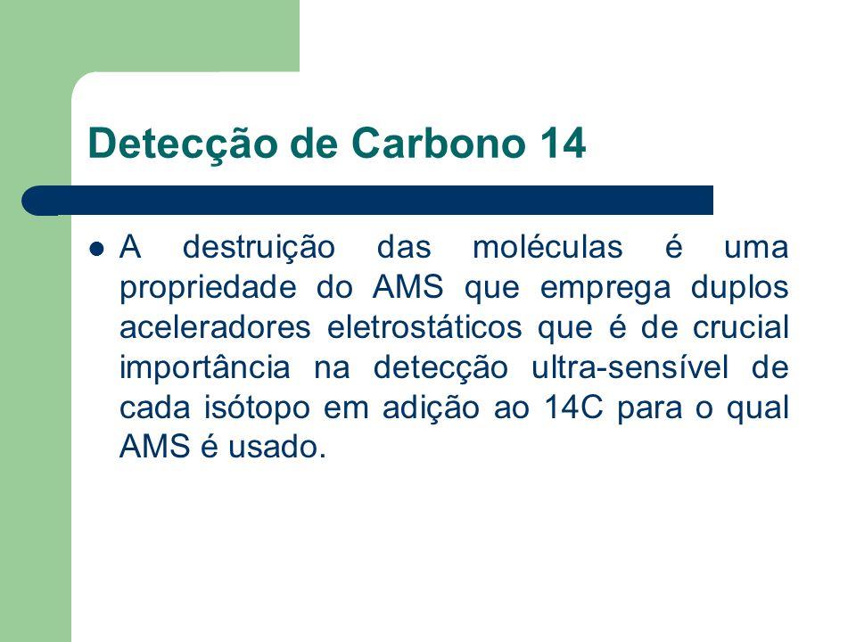 Detecção de Carbono 14 A destruição das moléculas é uma propriedade do AMS que emprega duplos aceleradores eletrostáticos que é de crucial importância