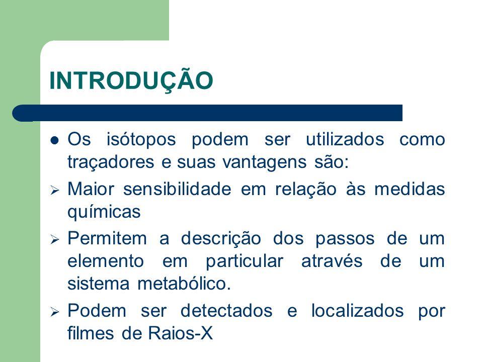 INTRODUÇÃO Os isótopos podem ser utilizados como traçadores e suas vantagens são: Maior sensibilidade em relação às medidas químicas Permitem a descri