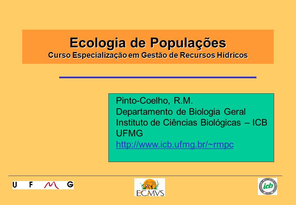 Ecologia de Populações Curso Especialização em Gestão de Recursos Hídricos Pinto-Coelho, R.M. Departamento de Biologia Geral Instituto de Ciências Bio