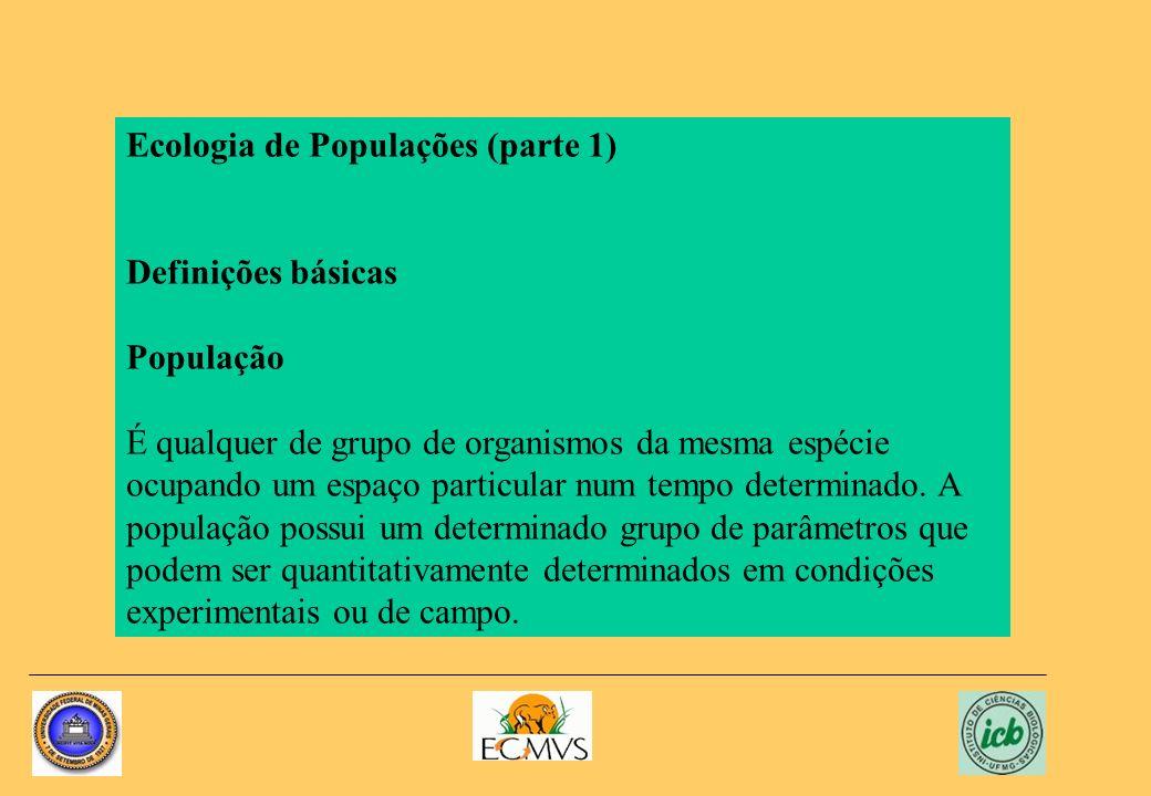 Ecologia de Populações (parte 1) Definições básicas População É qualquer de grupo de organismos da mesma espécie ocupando um espaço particular num tem