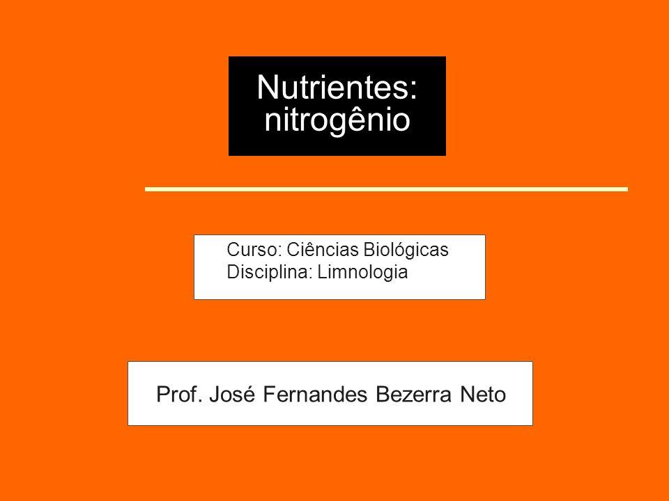 Nutrientes: nitrogênio Curso: Ciências Biológicas Disciplina: Limnologia Prof. José Fernandes Bezerra Neto