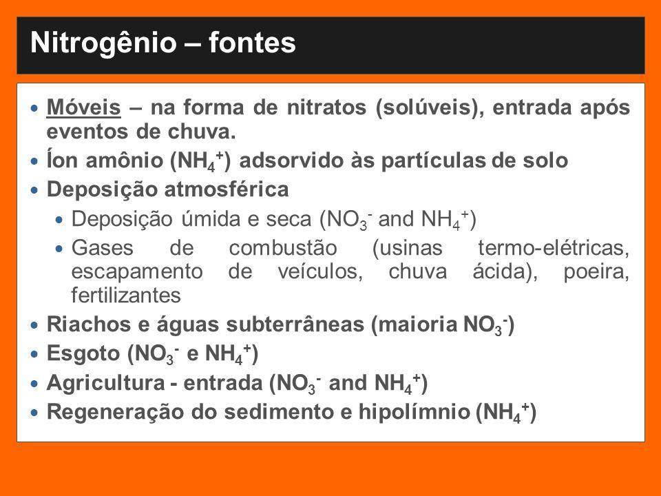 Nitrogênio – fontes Móveis – na forma de nitratos (solúveis), entrada após eventos de chuva. Íon amônio (NH 4 + ) adsorvido às partículas de solo Depo