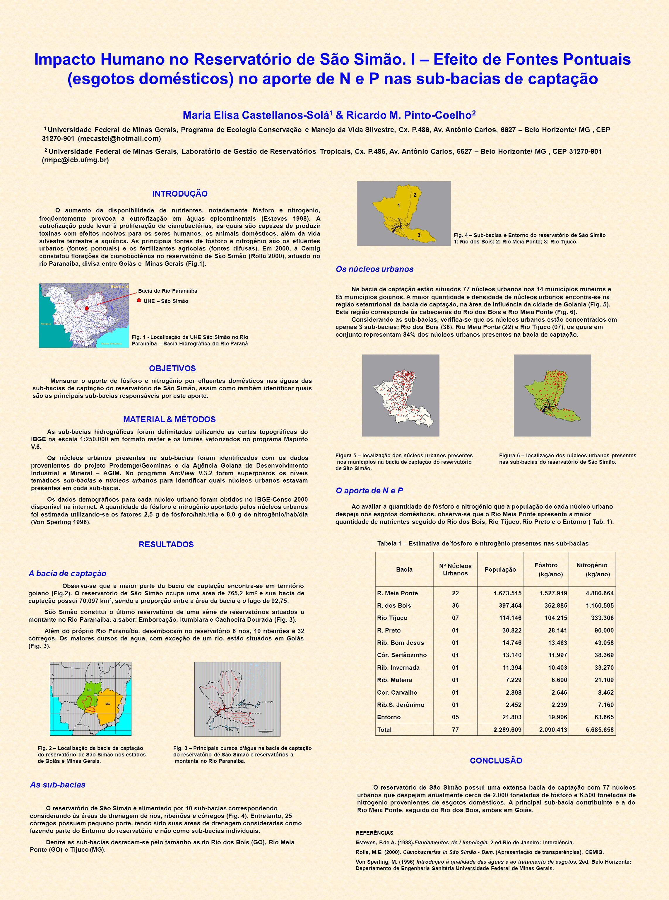Impacto Humano no Reservatório de São Simão. I – Efeito de Fontes Pontuais (esgotos domésticos) no aporte de N e P nas sub-bacias de captação Maria El