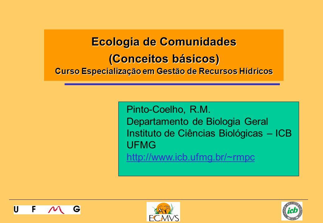 Pinto-Coelho, R.M. Departamento de Biologia Geral Instituto de Ciências Biológicas – ICB UFMG http://www.icb.ufmg.br/~rmpc Ecologia de Comunidades (Co
