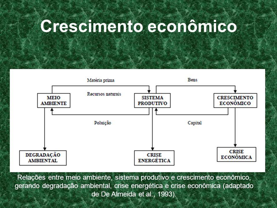 Crescimento econômico Relações entre meio ambiente, sistema produtivo e crescimento econômico, gerando degradação ambiental, crise energética e crise