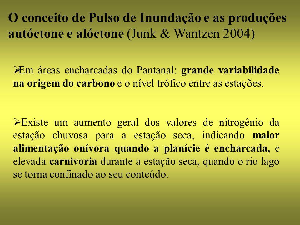 Em áreas encharcadas do Pantanal: grande variabilidade na origem do carbono e o nível trófico entre as estações. Existe um aumento geral dos valores d