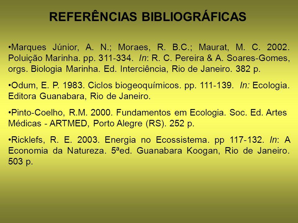 REFERÊNCIAS BIBLIOGRÁFICAS Marques Júnior, A. N.; Moraes, R. B.C.; Maurat, M. C. 2002. Poluição Marinha. pp. 311-334. In: R. C. Pereira & A. Soares-Go