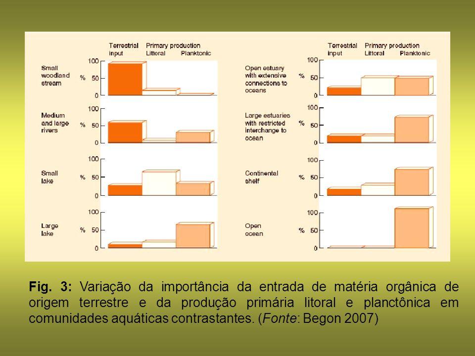 Fig. 3: Variação da importância da entrada de matéria orgânica de origem terrestre e da produção primária litoral e planctônica em comunidades aquátic