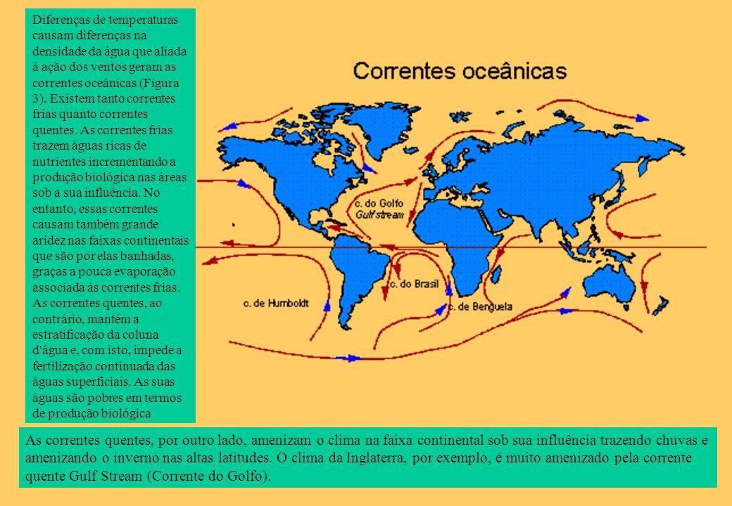 Diferenças de temperaturas causam diferenças na densidade da água que aliada à ação dos ventos geram as correntes oceânicas (Figura 3). Existem tanto