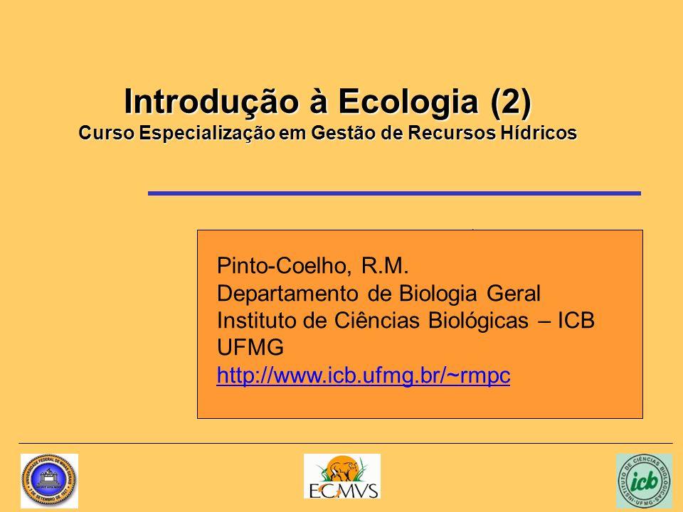 Introdução à Ecologia (2) Curso Especialização em Gestão de Recursos Hídricos Pinto-Coelho, R.M. Departamento de Biologia Geral Instituto de Ciências