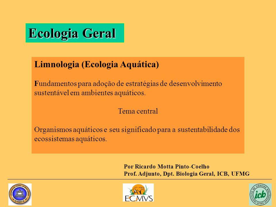 Ecologia Geral Limnologia (Ecologia Aquática) Fundamentos para adoção de estratégias de desenvolvimento sustentável em ambientes aquáticos. Tema centr