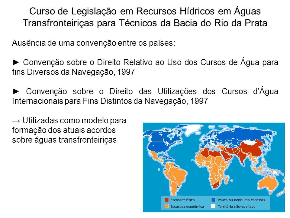 Curso de Legislação em Recursos Hídricos em Águas Transfronteiriças para Técnicos da Bacia do Rio da Prata Ausência de uma convenção entre os países: