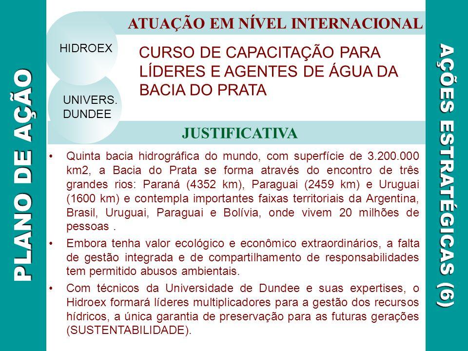 CURSO DE CAPACITAÇÃO PARA LÍDERES E AGENTES DE ÁGUA DA BACIA DO PRATA ATUAÇÃO EM NÍVEL INTERNACIONAL JUSTIFICATIVA AÇÕES ESTRATÉGICAS (6) UNIVERS. DUN