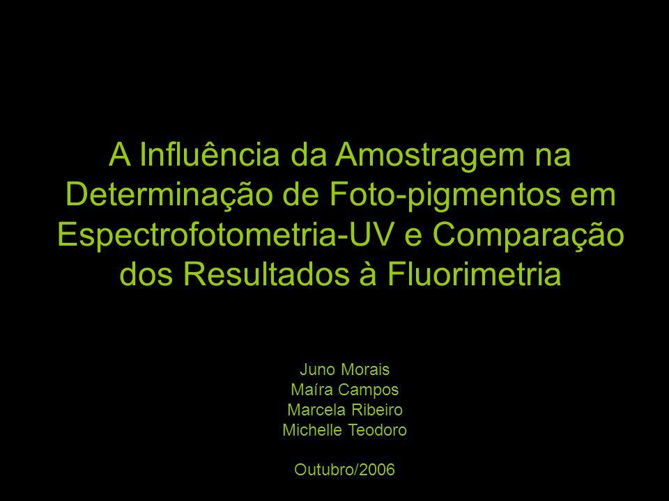 A Influência da Amostragem na Determinação de Foto-pigmentos em Espectrofotometria-UV e Comparação dos Resultados à Fluorimetria Juno Morais Maíra Cam