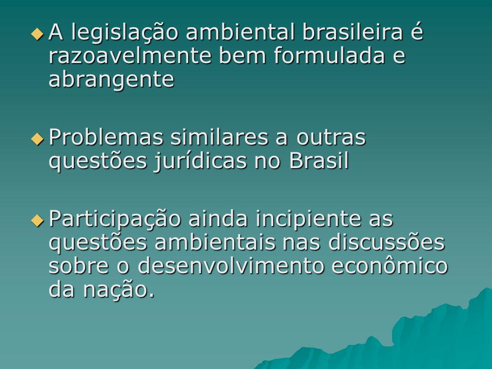 A legislação ambiental brasileira é razoavelmente bem formulada e abrangente A legislação ambiental brasileira é razoavelmente bem formulada e abrangente Problemas similares a outras questões jurídicas no Brasil Problemas similares a outras questões jurídicas no Brasil Participação ainda incipiente as questões ambientais nas discussões sobre o desenvolvimento econômico da nação.
