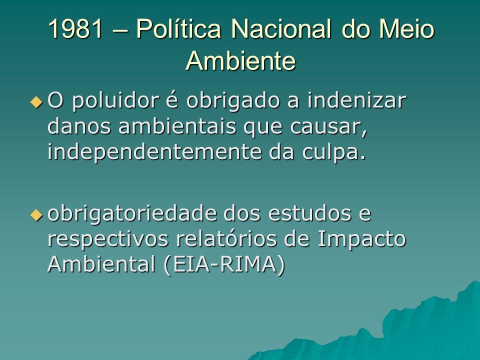 1981 – Política Nacional do Meio Ambiente O poluidor é obrigado a indenizar danos ambientais que causar, independentemente da culpa.