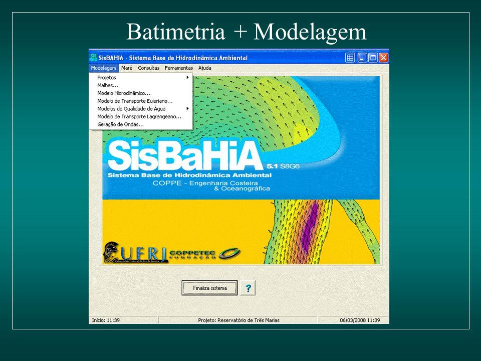 Biosonics batimetria Argus One malha de elementos finitos SisBaHia – modelo de altura de ondas Lagoa da Pampulha