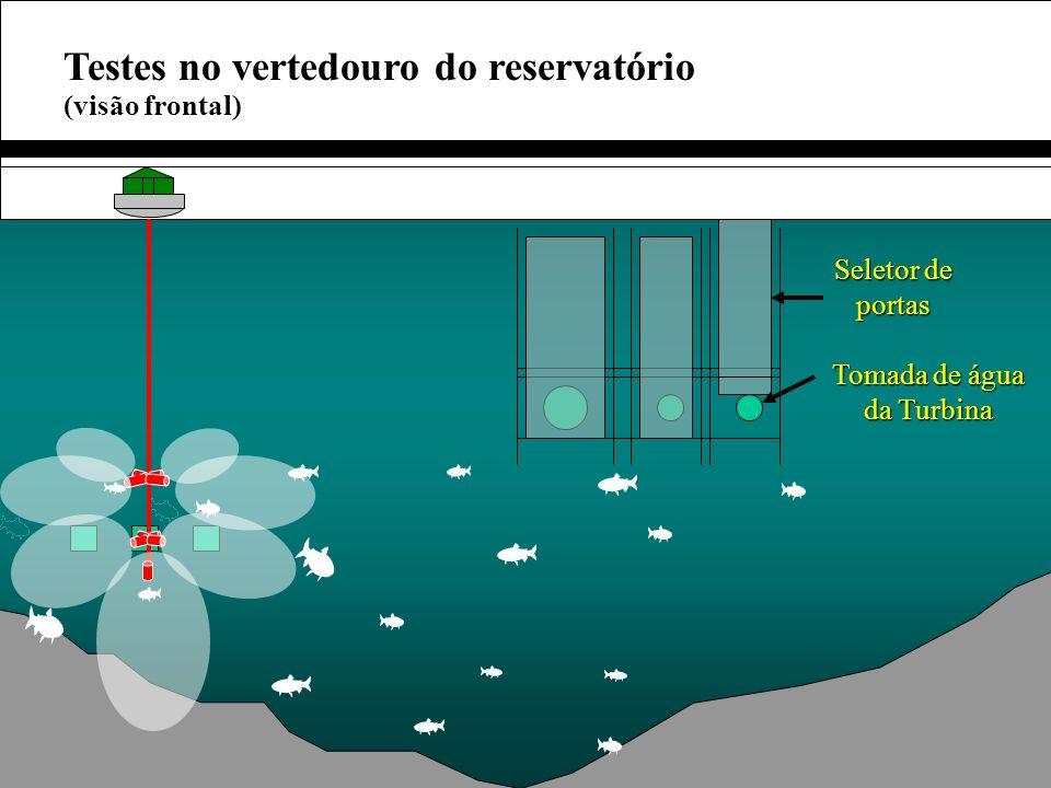 Testes no vertedouro do reservatório (visão frontal) Tomada de água da Turbina Seletor de portas