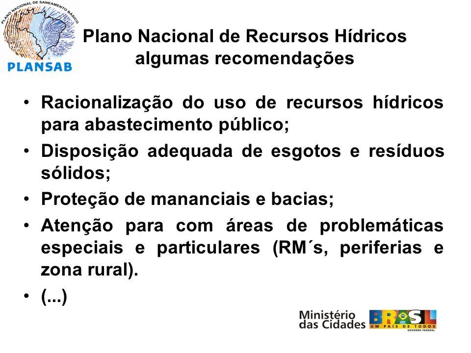 Plano Nacional de Recursos Hídricos algumas recomendações Racionalização do uso de recursos hídricos para abastecimento público; Disposição adequada d
