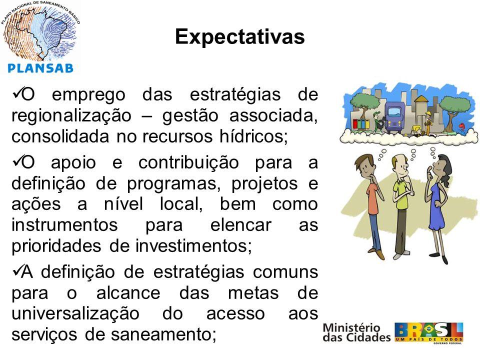 Expectativas O emprego das estratégias de regionalização – gestão associada, consolidada no recursos hídricos; O apoio e contribuição para a definição