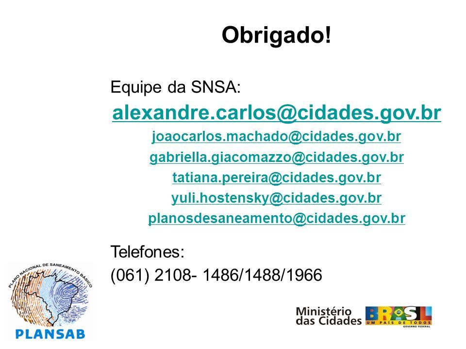 Obrigado! Equipe da SNSA: alexandre.carlos@cidades.gov.br joaocarlos.machado@cidades.gov.br gabriella.giacomazzo@cidades.gov.br tatiana.pereira@cidade