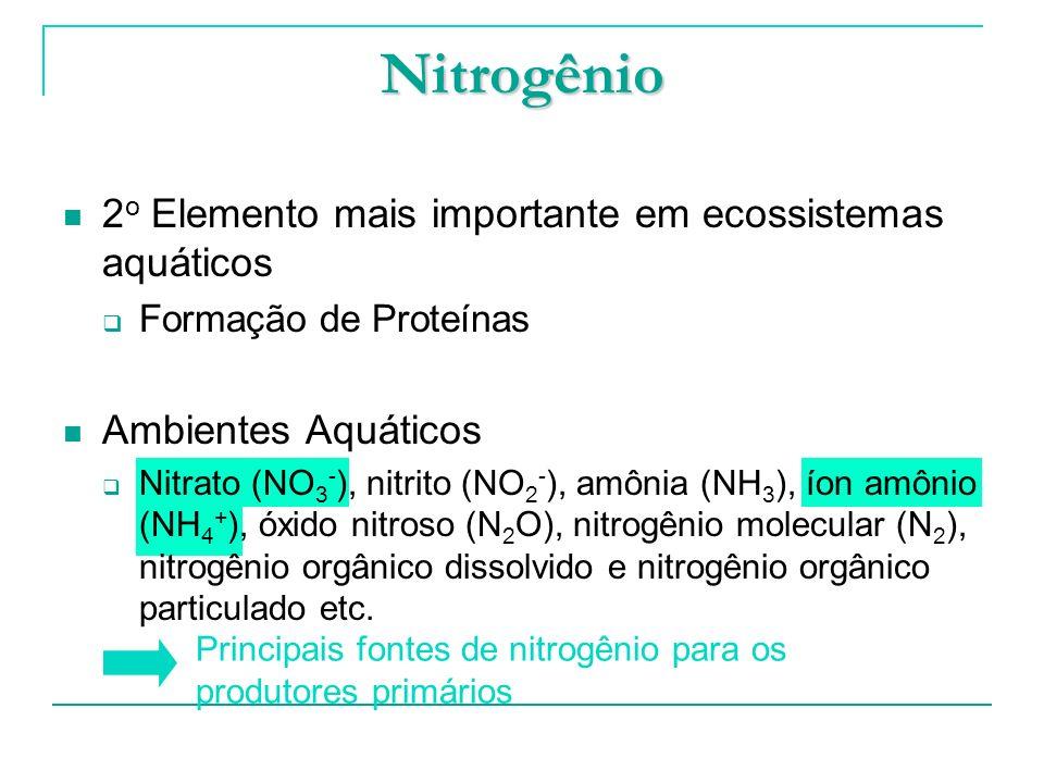 2 o Elemento mais importante em ecossistemas aquáticos Formação de Proteínas Ambientes Aquáticos Nitrato (NO 3 - ), nitrito (NO 2 - ), amônia (NH 3 ),