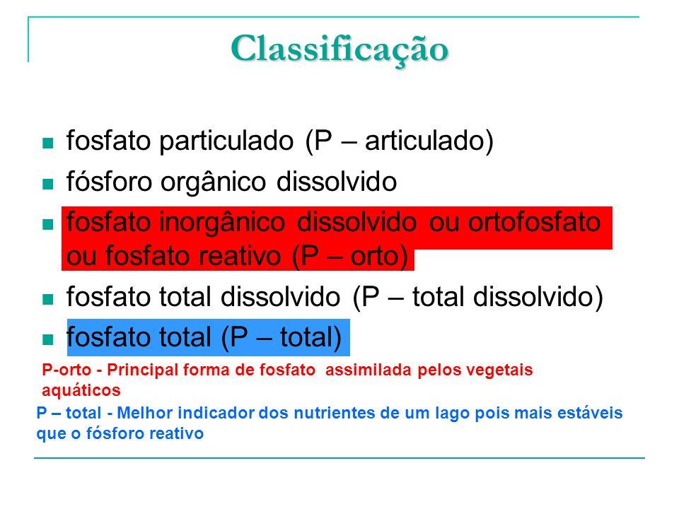 P – total - Melhor indicador dos nutrientes de um lago pois mais estáveis que o fósforo reativo Classificação fosfato particulado (P – articulado) fós