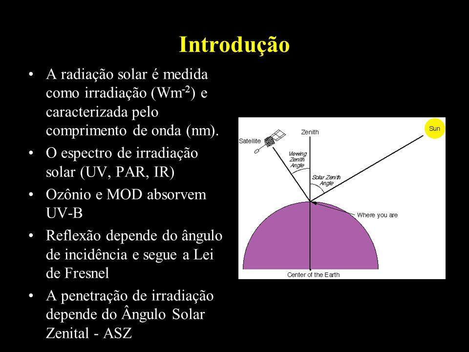 Introdução A radiação solar é medida como irradiação (Wm -2 ) e caracterizada pelo comprimento de onda (nm). O espectro de irradiação solar (UV, PAR,
