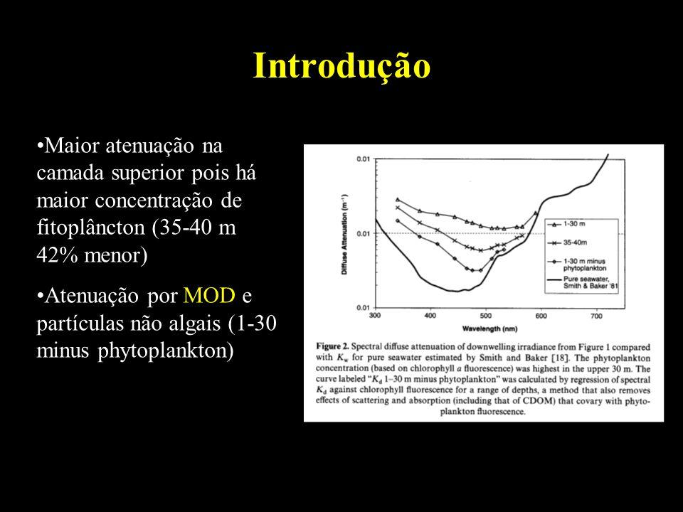Introdução Maior atenuação na camada superior pois há maior concentração de fitoplâncton (35-40 m 42% menor) Atenuação por MOD e partículas não algais