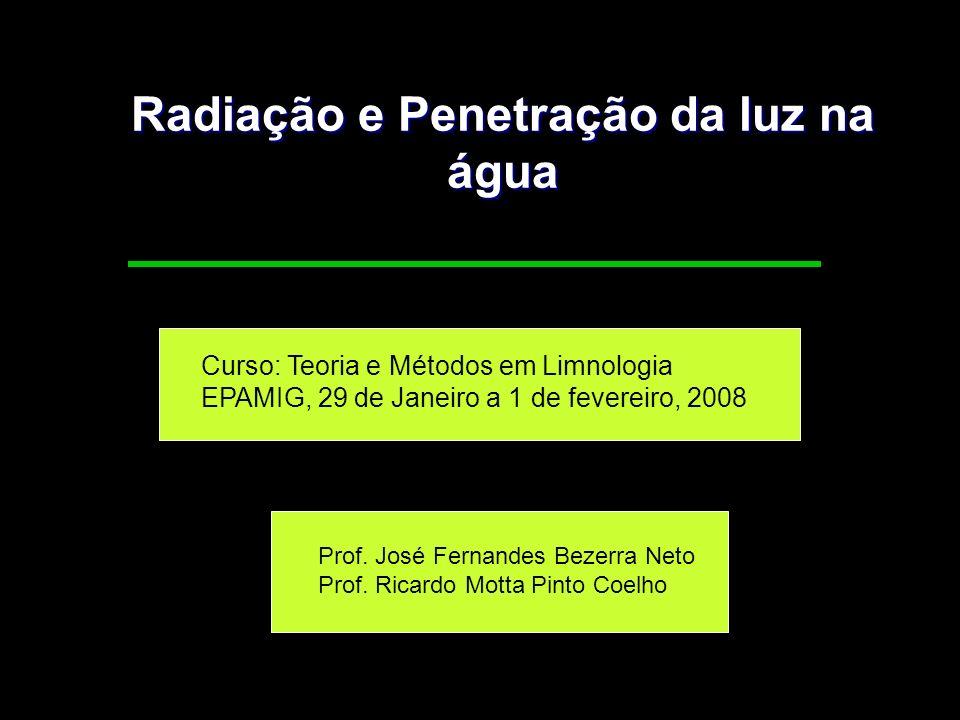 Radiação e Penetração da luz na água Curso: Teoria e Métodos em Limnologia EPAMIG, 29 de Janeiro a 1 de fevereiro, 2008 Prof. José Fernandes Bezerra N