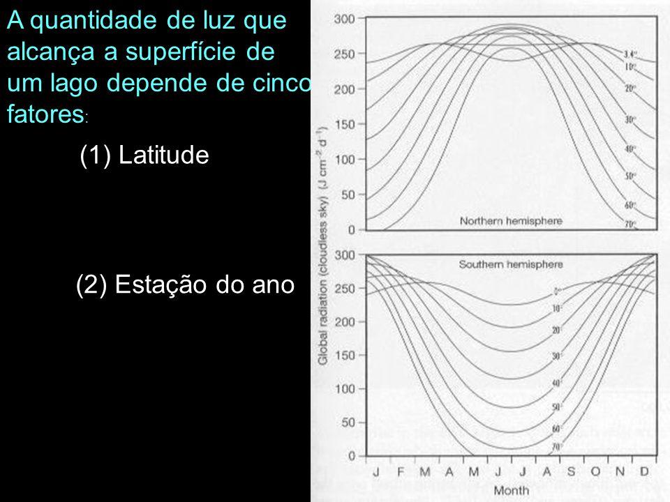 (1) Latitude A quantidade de luz que alcança a superfície de um lago depende de cinco fatores : (2) Estação do ano