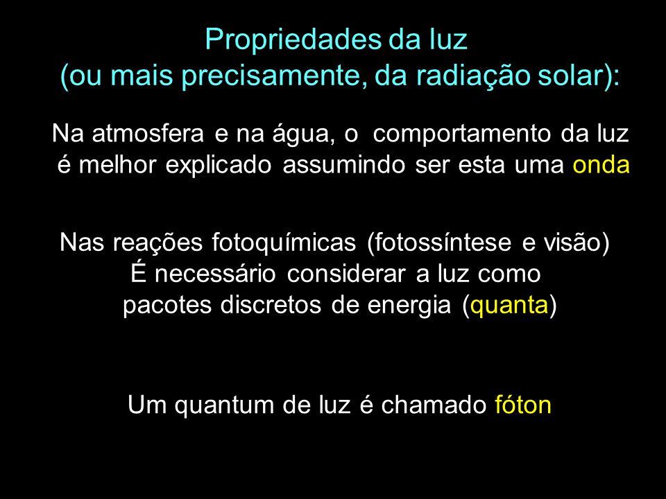 Propriedades da luz (ou mais precisamente, da radiação solar): Nas reações fotoquímicas (fotossíntese e visão) É necessário considerar a luz como paco