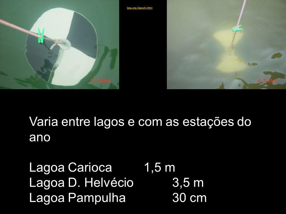 Varia entre lagos e com as estações do ano Lagoa Carioca 1,5 m Lagoa D. Helvécio3,5 m Lagoa Pampulha30 cm ljea.org/ljsecchi.html