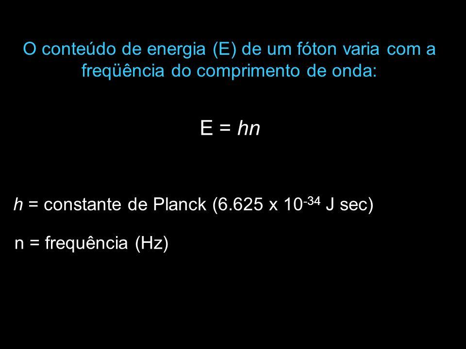 n = frequência (Hz) O conteúdo de energia (E) de um fóton varia com a freqüência do comprimento de onda: E = hn h = constante de Planck (6.625 x 10 -3