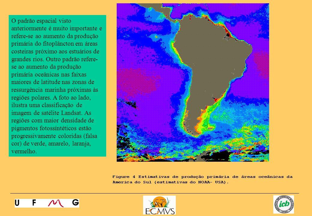 O padrão espacial visto anteriormente é muito importante e refere-se ao aumento da produção primária do fitoplâncton em áreas costeiras próximo aos es
